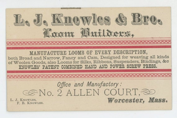 Knowles loom builders trade business card worcester ma etsy image 0 reheart Image collections
