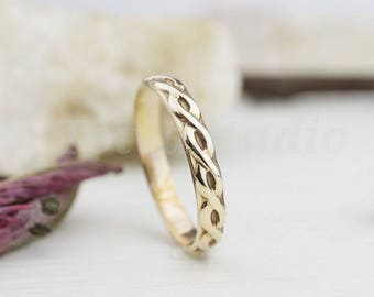 14k Yellow Gold Infinity Ring- Solid gold wedding Band