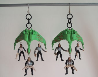 Klingon Bird of Prey and Warriors feat. the mighty Kahless Star Trek Earrings (can be converted to clip-on)