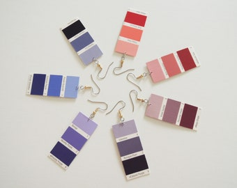 Pinks and Purples Paint Chip Swatch Sample Earrings (can be converted to clip-on)