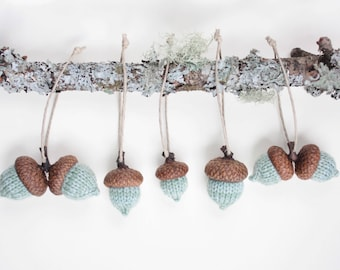 set of 5 hand knit sage acorn ornaments // READY TO SHIP!