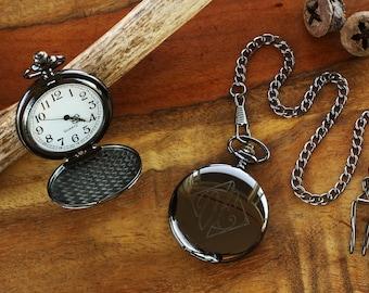 cefe030f4035b Engraved Black Pocket Watch