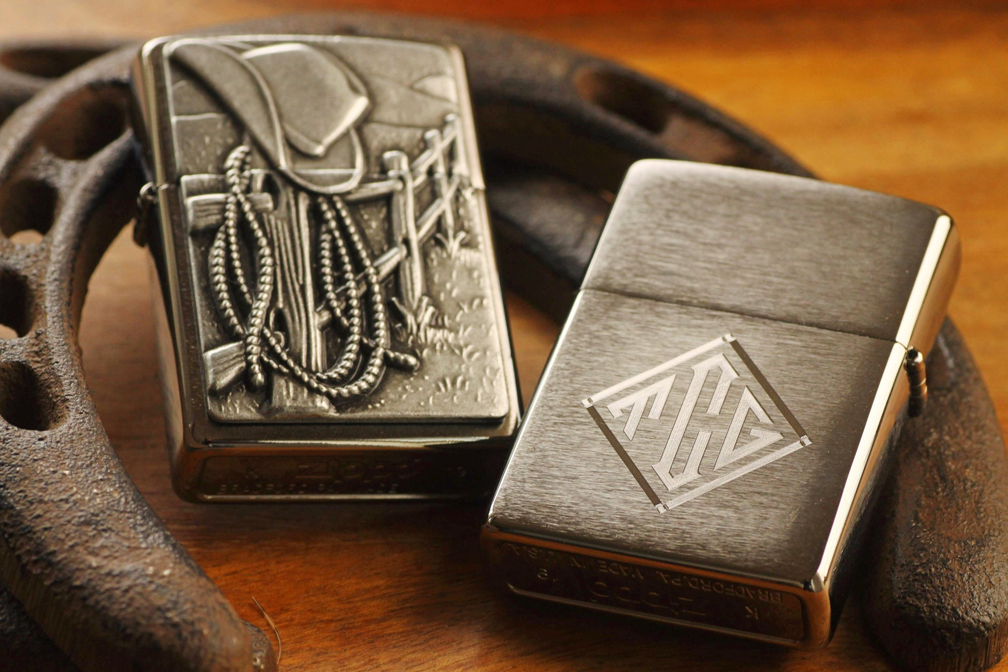 Cowboy Zippo© Lighter - Rodeo Lighter - Resting Cowboy Zippo© - Western Lighters with Custom Monogram Engraving