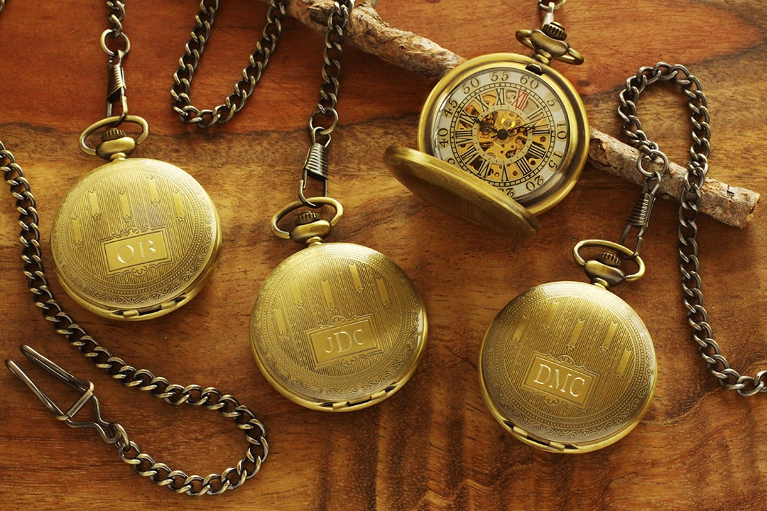 f1d9bd40b SET OF 7 Custom Pocket Watch Bronze - Personalized Groomsmen ...