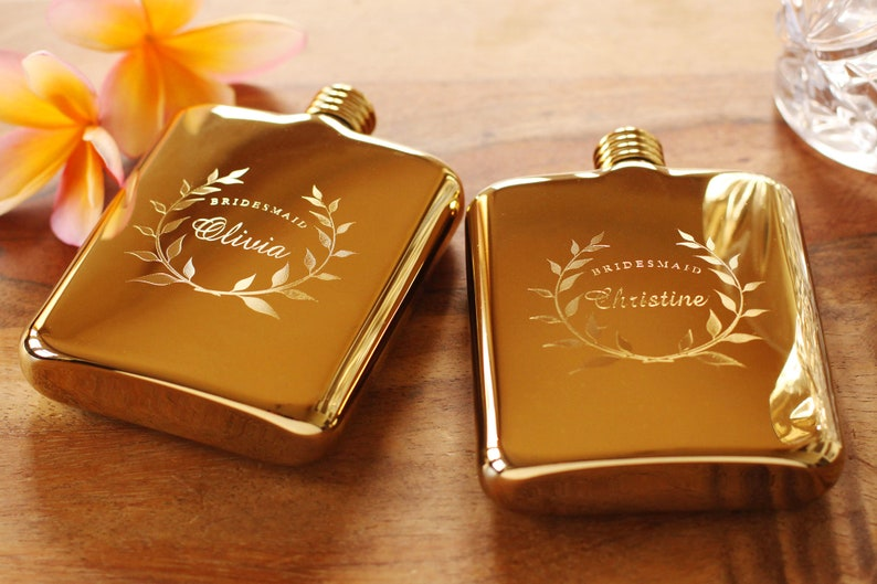 Bridesmaid Flask  Engraved Gold Flask  Personalized image 0
