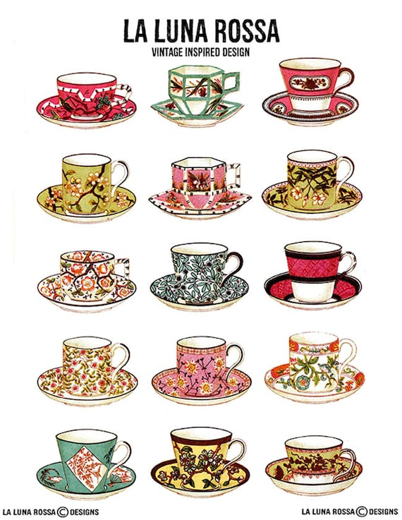 8.5 inch Tea Cup Template Printable Tea Cup Coffee Cup Template Tea Party Decor Coffee Shop Cutouts Bridal Shower DIY Printable Cutouts