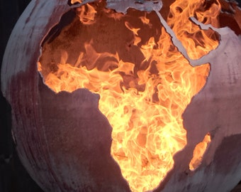 "Fire Sphere Fire Ball 900mm Sculptural Fire Pit ''Earth"" Design    Craftsmen in Metal J.W & A.J Barrett Ltd."