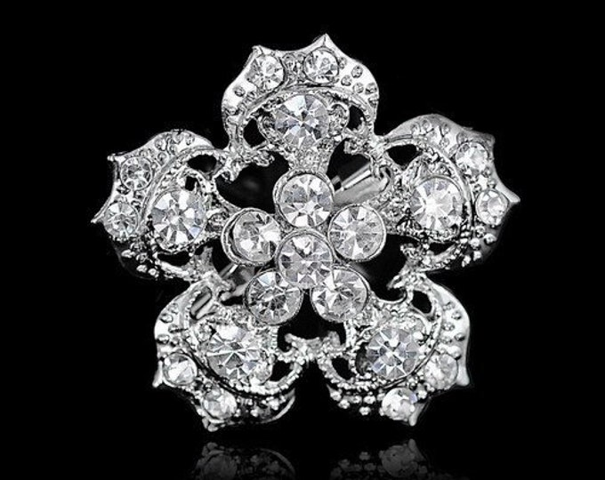 Featured listing image: Five Petal Silver Decorative Brooch
