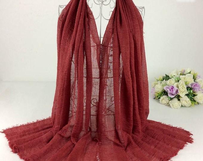 Featured listing image: Crimson - Cotton Raw Edge Hijab
