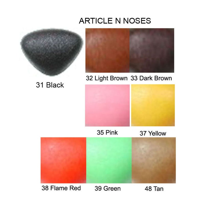15mm Plastic Safety Nose 15mm x 12mm Article N Available in 7 Colours Triangle Shape w Plastic or Metal Washer Size 2 Teddy Bear Plush Toy