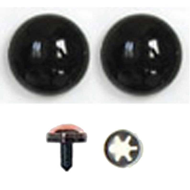 1 Pair 40mm Black Plastic Safety Eyes with Metal Washers Article G Teddy Bear Doll Puppet Troll Plushie Stuffed Animal Plush Toy