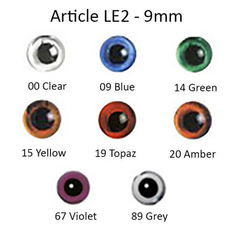One Pair 14mm Blue Glass Eyes with Loop