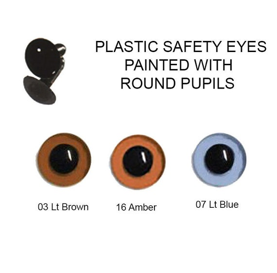 6 Per Pack Teddy 12mm Craft Safety Amber Eyes