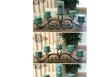 Candle Pillar with Choice of Three Beautiful Metal Embellishments ~ Multiple Candle Colors Available