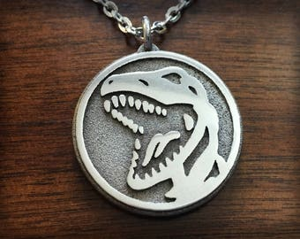 Mighty Morphin Power Rangers Red Ranger Tyrannosaurus Emblem 3D Printed Stainless Steel Pendant and Keychain