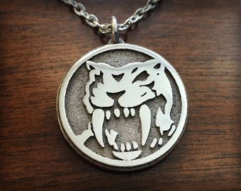 Mighty Morphin Power Rangers Yellow Ranger Saber Tooth Tiger 3D Printed Stainless Steel Pendant and Keychain