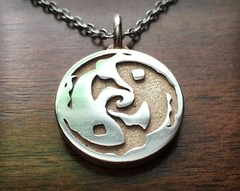 Geek Chic Original Design 3D Printed Stainless Steel Pendant - Koi Yin Yang