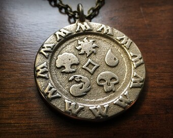Magic The Gathering All Mana Stainless Steel 3D Printed Pendant and Keychain