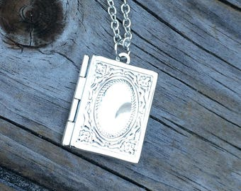 Book Locket Necklace, Locket Necklace, Wedding Necklace, Gifts for her, Picture Locket, Bridal Jewelry, Bridesmaid Gift, Gifts for Mom