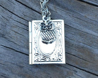 Owl Locket Necklace, Book Necklace, Wedding Necklace, Gifts for her, Picture Locket, Bridal Jewelry, Bridesmaid Gift, Gifts for Mom