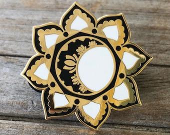 Moon Mandala Pin, Enamel Pin, Hard Enamel Pin, Moon Brooch, Gold Pin, Lapel Pin, Mandala Pin, Stocking Stuffers, Moon Pin