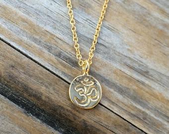 Gold Ohm Necklace, Zen Charm Necklace, Spiritual Necklace, Ohm Charm Necklace, Gift for her, Minimalist Necklace, Simple Necklace