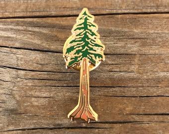Redwood Enamel Pin, Hard Enamel Pin, Brooch, Gold Pin, Lapel Pin, Tree Pin, Redwood Tree Pin, California Pin