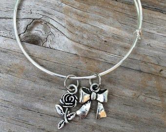Rose and Bow bracelet, Wedding Bracelet, Bridesmaid Bracelet, Wedding gift, Bridal gift, Mrs bracelet, Rose Bracelet