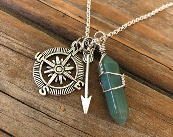Crystal Compass Necklace, Crystal Necklace, Wire Wrapped Necklace, Travel Necklace