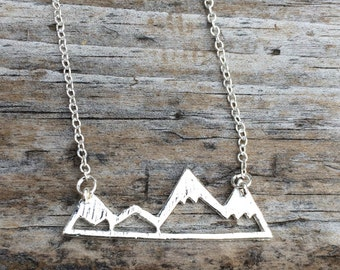 Silver Mountain Necklace, Mountain Charm Necklace, California Necklace, Northwest Necklace, Gift for her