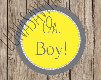 Oh Boy! Baby Shower Decor Design, Gift Tag, Invitation, Logo, Baby Shower Cut out, Cupcake Topper, Gender Reveal Party, Digital Download