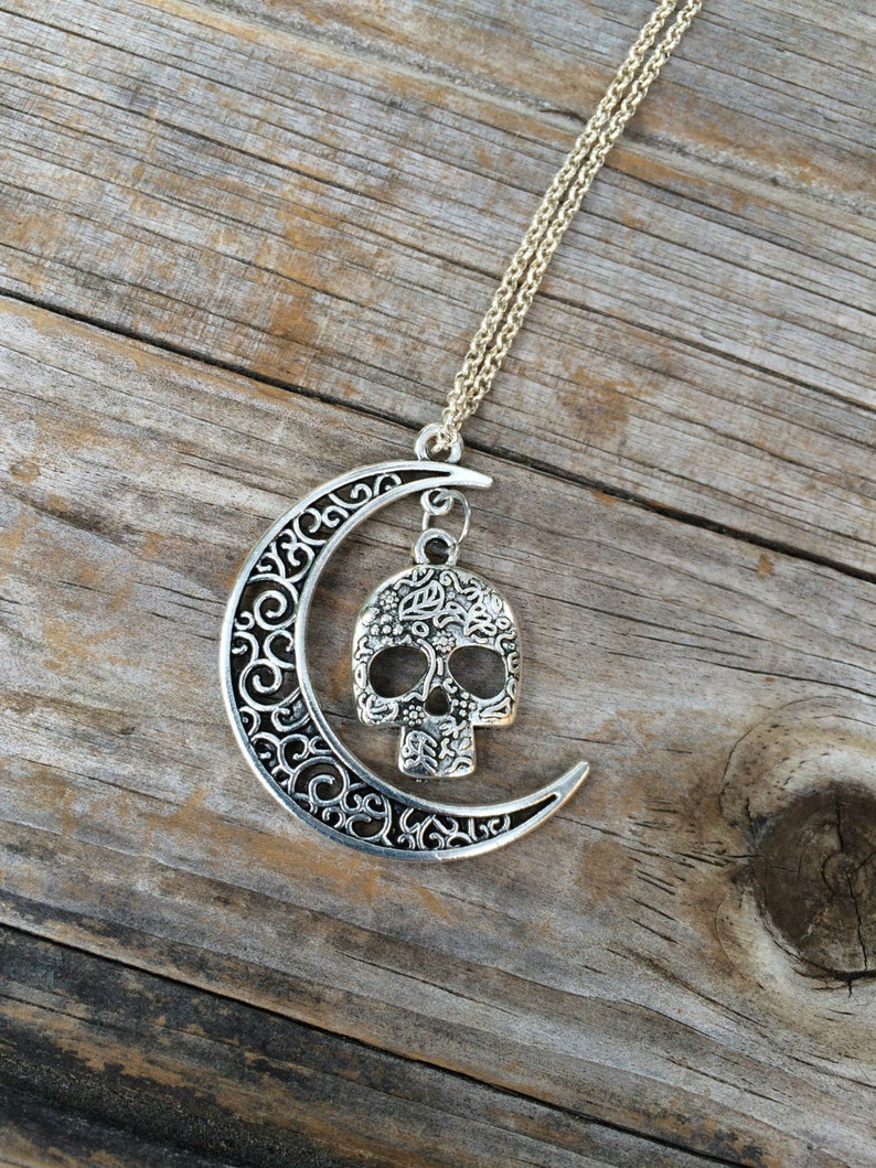 Skull Moon charm necklace Halloween Necklace Moon necklace image 0