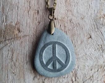 Lake Superior Pebble Peace Necklace