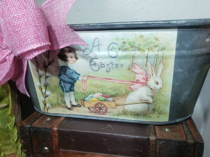 Easter basket garden . Easter print tin with fabric bow  bunny