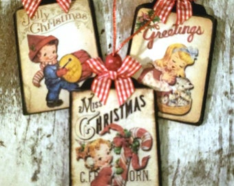 Classic, vintage, christmas ornaments, Holiday decor set of 3