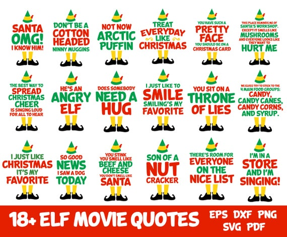 Christmas Card Quotes.Buddy The Elf 18 Movie Quotes Editable Svg Png Dxf Eps Pdf For Christmas Cards Tshirts Holiday Printable Hang Tags Instant Download Print