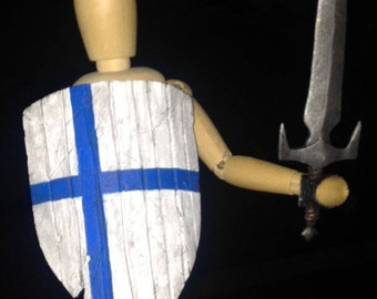 Unisex mannequin/ scketch guy/gal w sword and shield