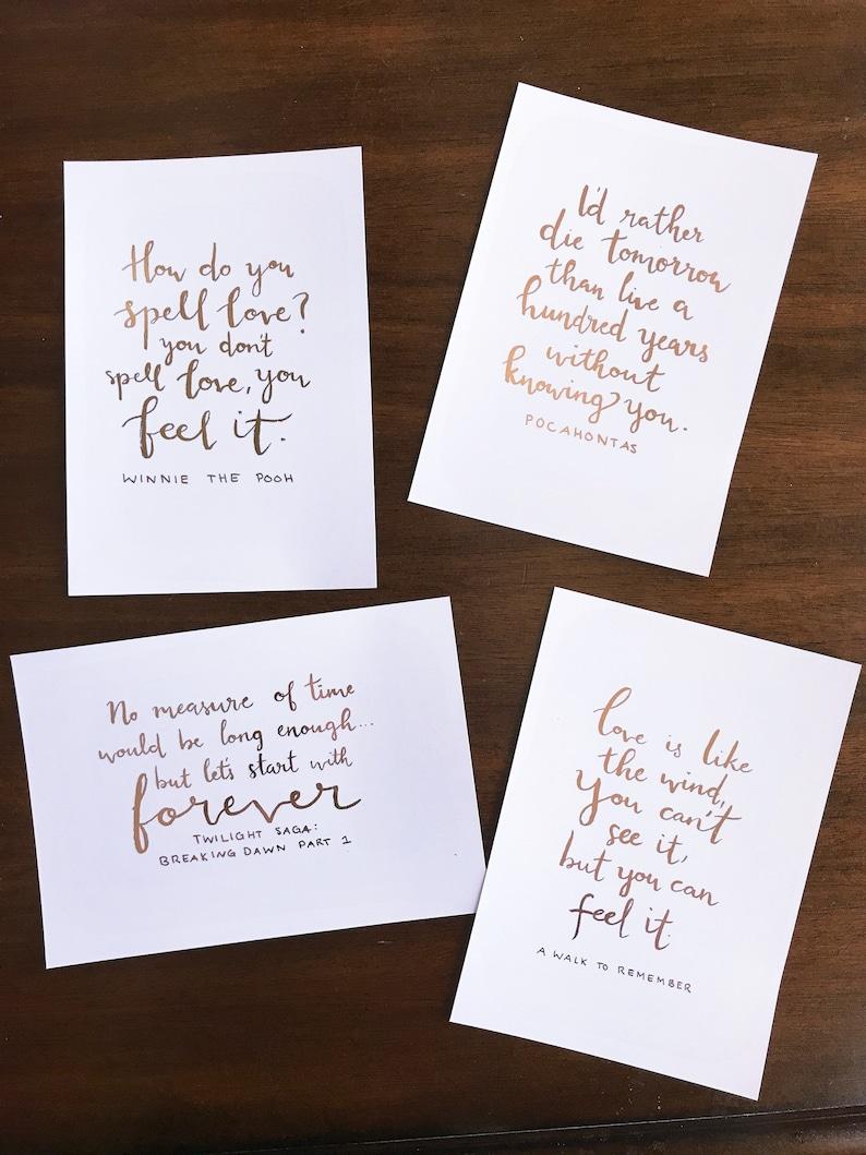 Movie Love Quotes Wedding Centerpieces Set Of 12 Etsy