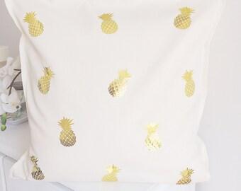 Mini Gold metallic pineapple pillow cover