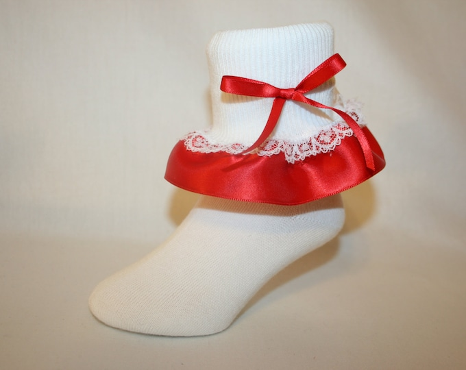 99f5e27ac Girls White Nylon-Cotton Bobby Socks with Red Satin   White Lace Ruffle and  Red