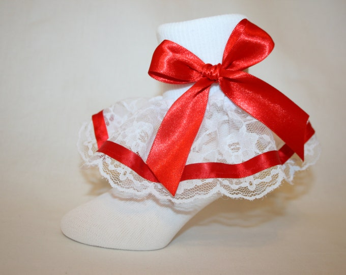 fe80c08dd Girls White Nylon   Lace Girls Bobby Socks with Red Satin Ribbon Bows and  Trim Jojo