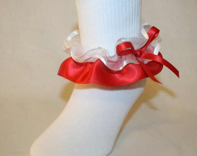 53e6cae2c Girls White Nylon-Cotton Bobby Socks with Red Satin   White Organza Ribbon  Ruffle with