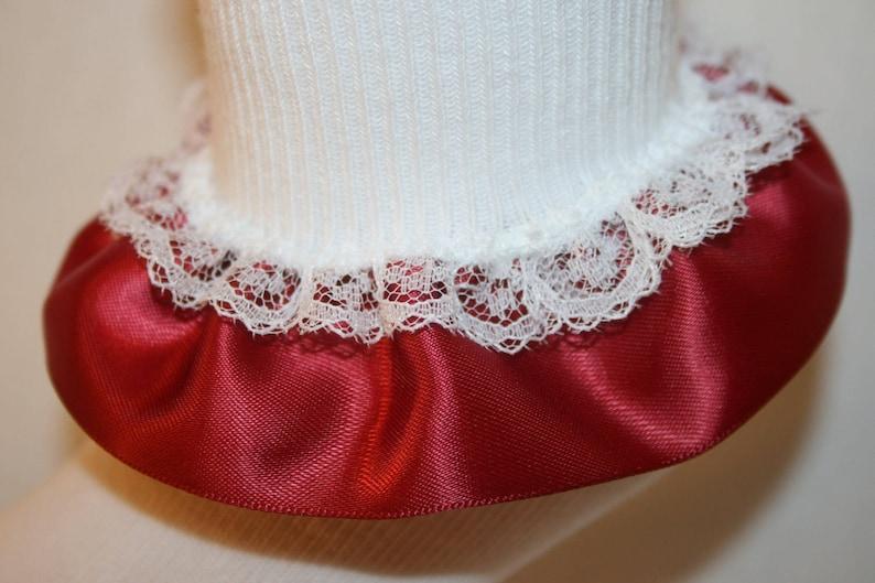 Girls White Nylon-Cotton Bobby Socks with Burgundy Satin /& White Lace Ruffle Robin by Socks For A Princess