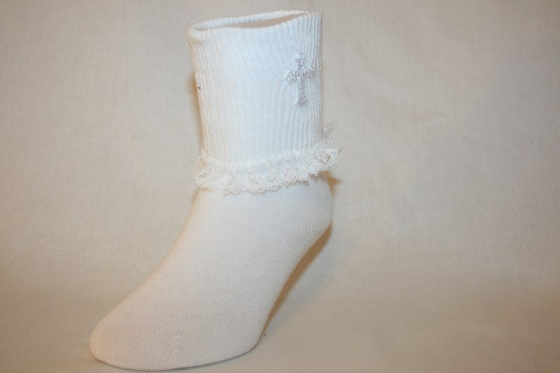 Girls White Nylon-Cotton Bobby Socks with White Lace Ruffle and Applique Cross Mariann by Socks For A Princess