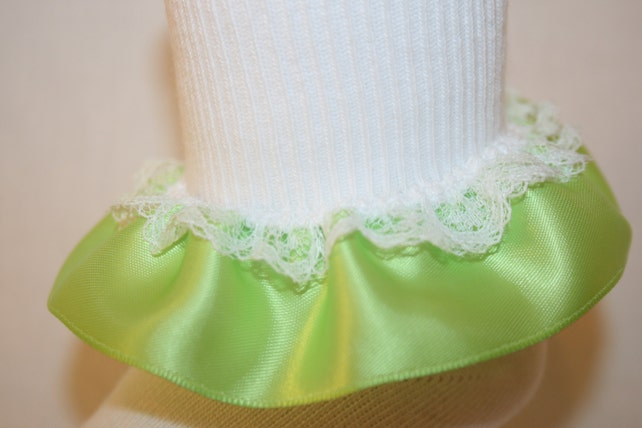 7283296e1 Girls White Nylon-Cotton Bobby Socks with Lime Satin   White Lace Ruffle  Robin by Socks For A Princess
