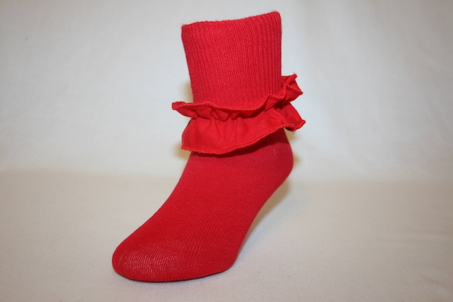 a1b25ed26 Girls Red Cotton-Nylon-Spandex Socks with Ruffle Wren by Socks For A  Princess