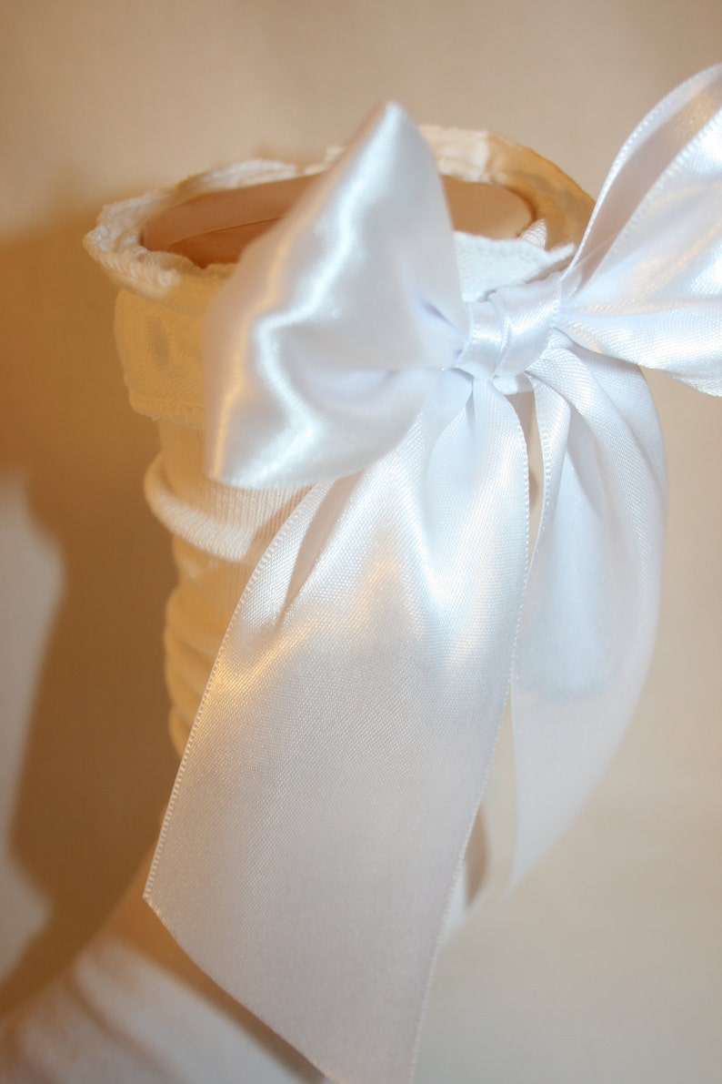 8f3813172 Girls White Knee High Socks with Ruffle and White Satin Ribbon