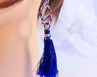 RED WHITE and BLUE earrings, wire hoop, blue tassels, blue ear wires, Memorial Day, Flag Day, Independence Day, patriotic earrings - 1953RWB