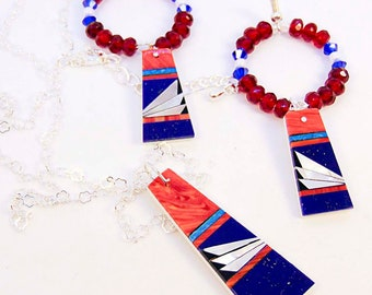 RED WHITE and BLUE, holiday jewelry, sterling chain, crystal hoop, mother-of-pearl shell, resin, necklace, earrings, flat trapezoid - 2323JS