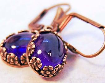 AMETHYST EARRINGS, amethyst jewelry, amethyst gemstones, purple jewelry, antique gold bezel, dangle earrings, purple earrings  - 2331G